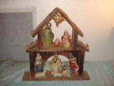 VINTAGE CHRISTMAS PORCELAIN CERAMIC WOOD NATIVITY SET SCENE