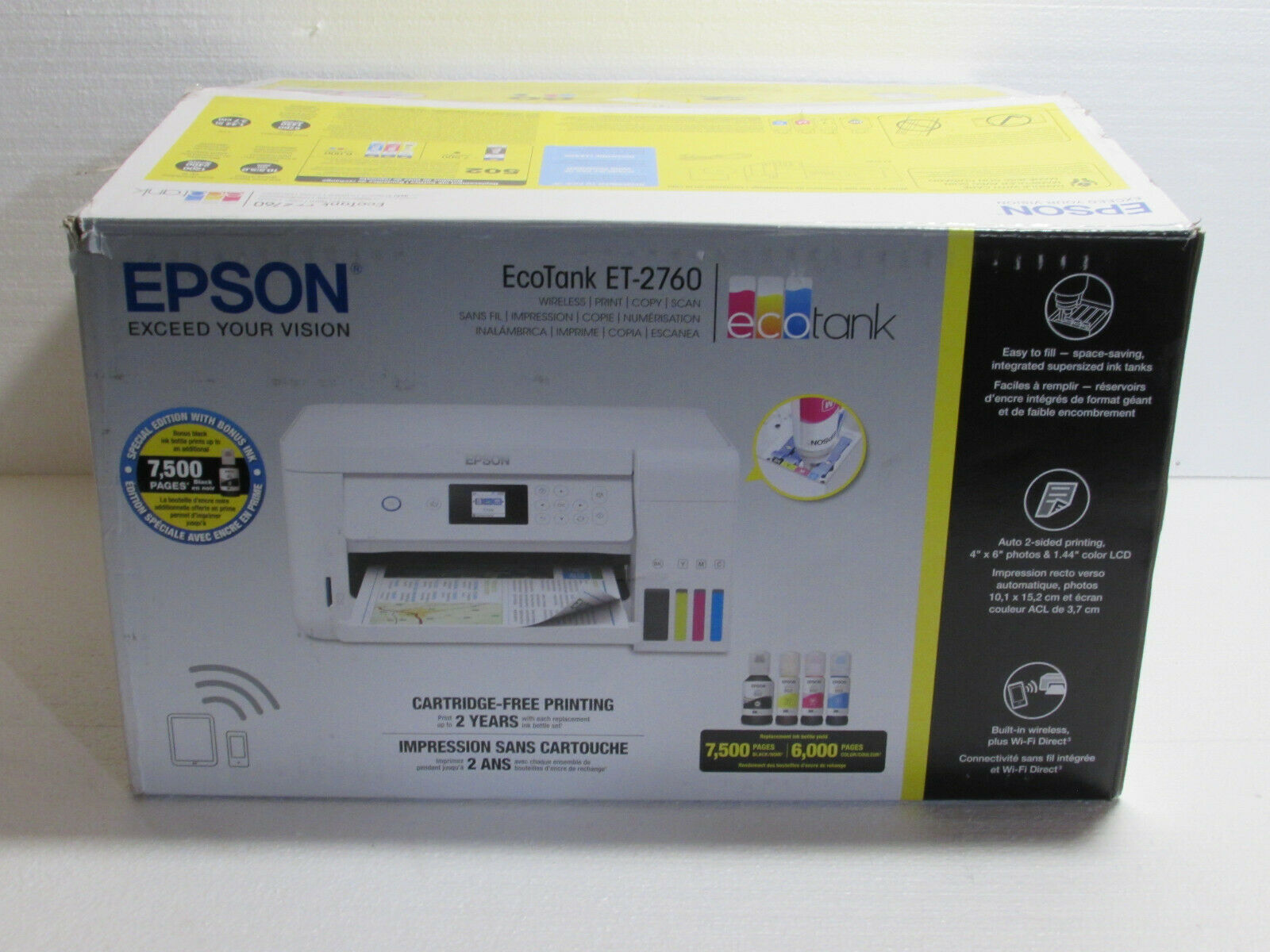 Epson EcoTank ET-2760 All-in-One Supertank Printer, Page Count 500 Or less. Buy it now for 200.00