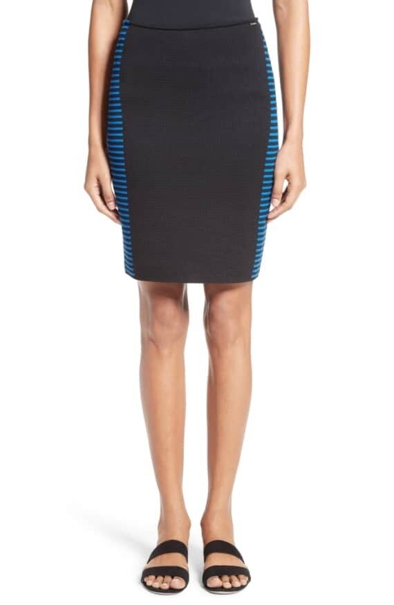 New St. John Collection Stripe Knit Jacquard Pencil Skirt Size 2 MSRP  395