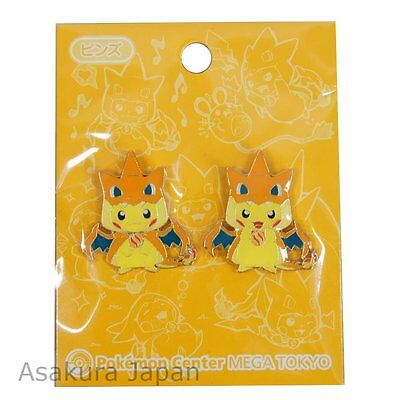 Pokemon Center Mega Tokyo Mega Charizard Y Pikachu Pin Badge set Pins Pikazard