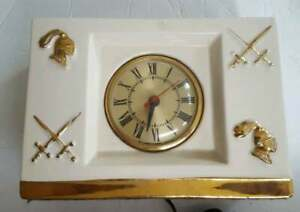 Vintage Gold White Ceramic Clock Knights Swords Electric Movement by Sessions