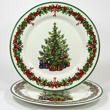 Christopher Radko HOLIDAY CELEBRATIONS 11  Dinner Plate Set 2Pc Christmas Tree & 4 Christopher Radko Holiday Celebrations Christmas Tree Dinner ...