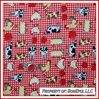 BonEful FABRIC FQ Cotton Quilt Red White Yellow EGG Rooster Dot Route 66 Kitchen