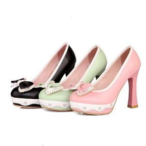 Womens-Vintage-High-Block-Heel-Bowknot-Lolita-Leather-Pump-Court-Shoes-Plus-Size