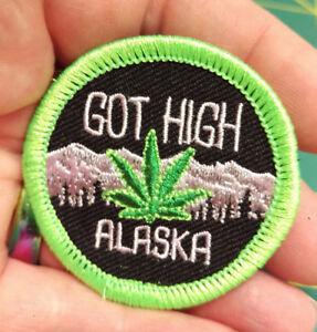 NEW-Fun-Alaska-Merit-Badge-Patch-GOT-HIGH-embroidered-Alaska-patch-FUNNY