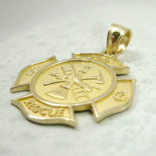 NEW Solid 14K Yellow Gold Firefighter Fire Rescue Pendant Charm