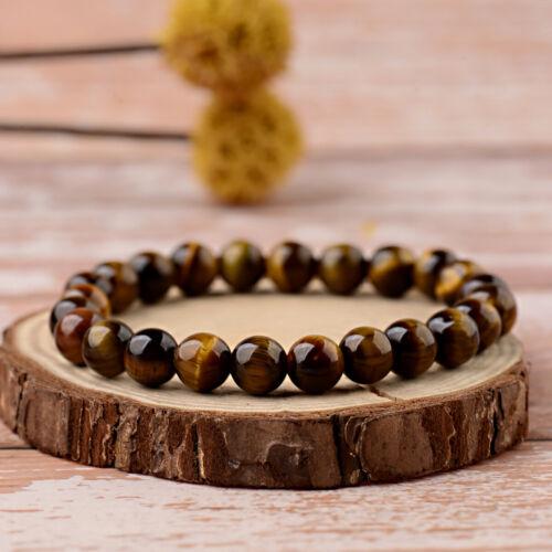 Fashion Men Women 8mm Natural Gemstones Bead Adjustables Handmade Bracelets Gift