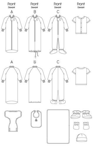 Gratis Reino Unido P/&p Butterick Bebé patrón de costura 5583 Mono Y Accesorios..