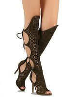 Black Nude Olive Peep Toe Gladiator Knee High Boots Women's Lace Up Heel Shoes