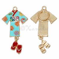 Japanese Kimono With Geta Sandals Wholesale Pendant Charms C3179 - 3pcs Or 5pcs