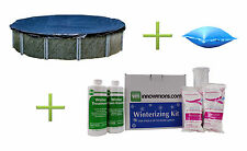 Swimline 24 Round Above Ground Pool Cover w/ 4x8 Air Pillow + Winterizing Kit