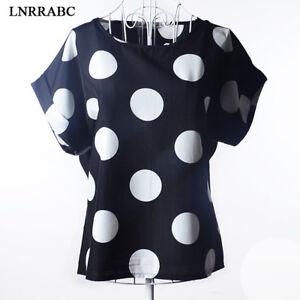Moda-Mujer-Chiffon-manga-corta-Holgado-Camiseta-Ocasional-Sueter-Camisa-Blusa