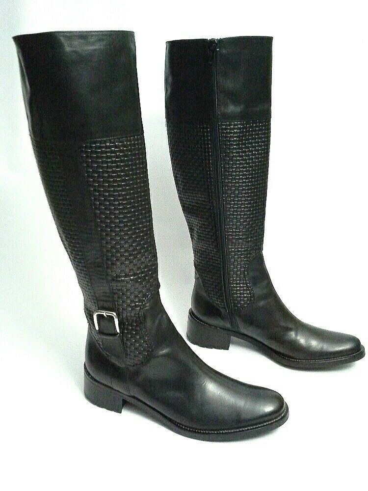 Cole Haan Tall Boots Woven Pattern Black Sz 8