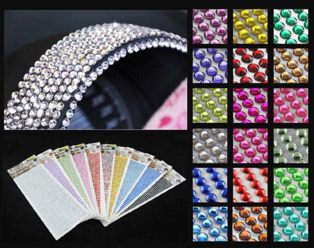 qty 500 4MM SELF ADHESIVE STICK ON DIAMONTE PURPLE CRYSTAL RHINESTONE DIAMANTES