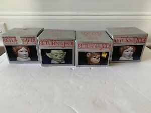 STAR-WARS-SIGMA-MUG-BOXES-ONLY-X4-LEIA-YODA-WICKET-CERAMIC-HAND-PAINTED-VINTAGE