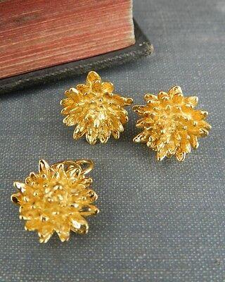 Gold Over Sterling Silver Flower Earrings & Pendant Set