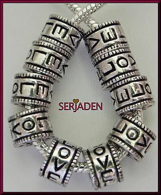 10 Love w/ Heart Spacer fits European Style Charm Bracelets / Necklaces S145