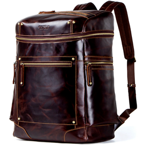 33ad095860 Image is loading 2018-Backpacks-Women-Men-Vintage-Genuine-Leather-Brown-