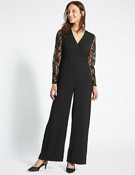 M&S COLLECTION Women's Wrap Lace Sleeve Jumpsuit NEW