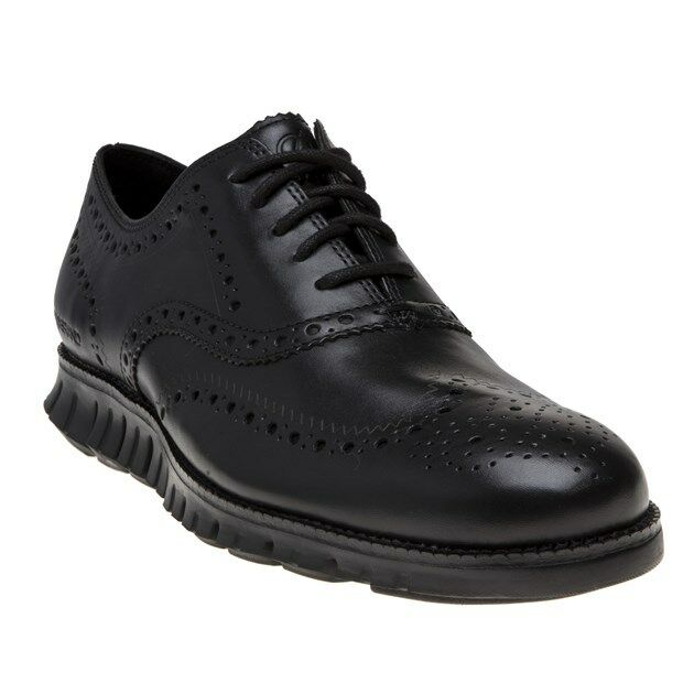 New Mens Cole Haan Black Zerogrand Wing Ox Leather shoes Brogue Lace Up