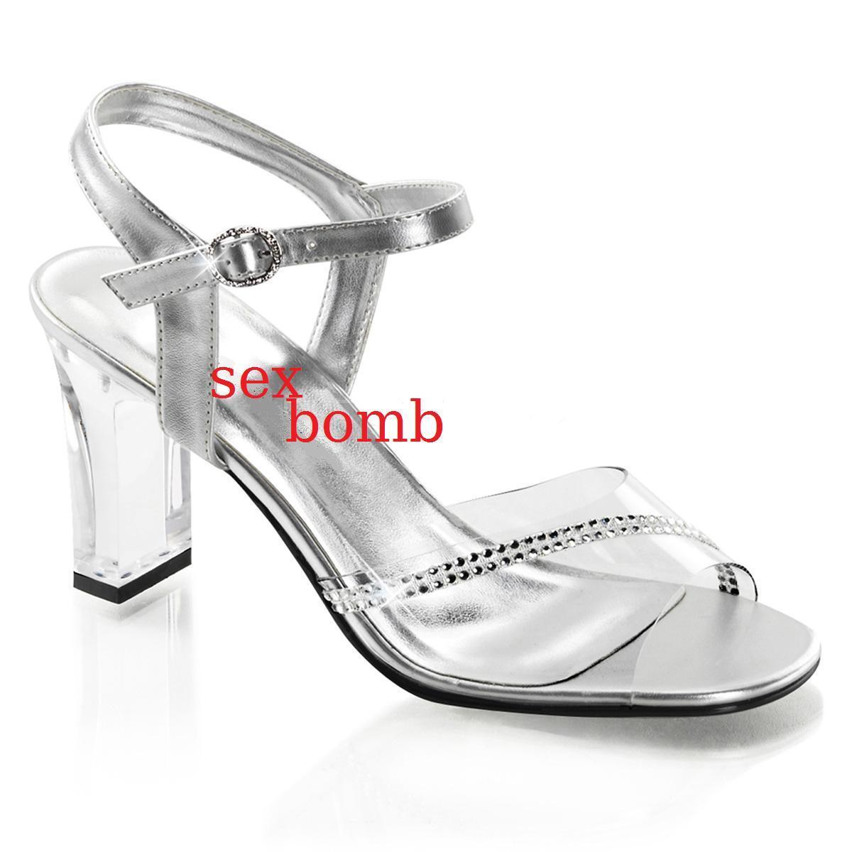SEXY sandali cm cm sandali STRASS tacco 8 cm sandali dal 35 al 44 TRASPARENTE   eae82e