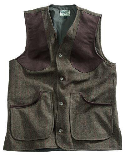 Hoggs Harewood Lambswool Tweed Shooting Vest - Dark Green