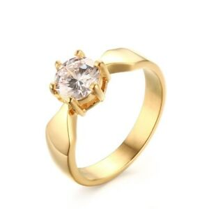 2ct-AAA-CZ-Titanium-Band-Women-039-s-18K-Gold-Plated-Wedding-Jewelry-Ring-Size-6-7-8