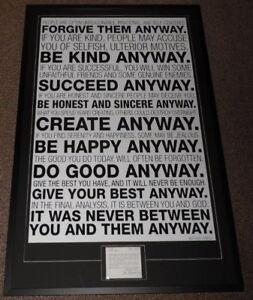 Mother-Teresa-1993-Signed-Framed-28x44-Prayer-Card-amp-Be-Kind-Poster-Display-JSA