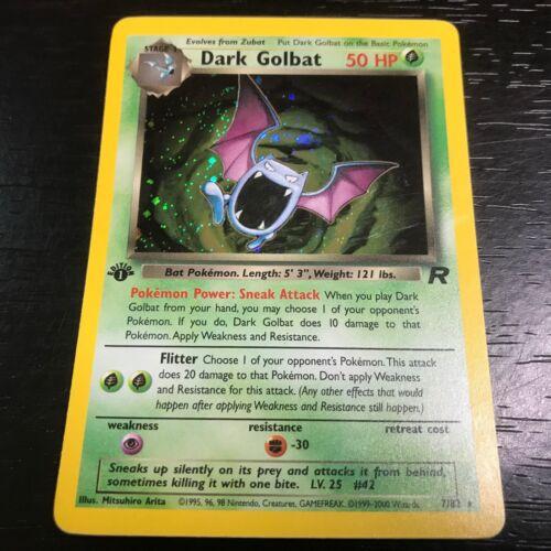 POKEMON: 1X DARK GOLBAT 7/82 1ST EDITION - HOLO RARE CARD TEAM ROCKET - NM