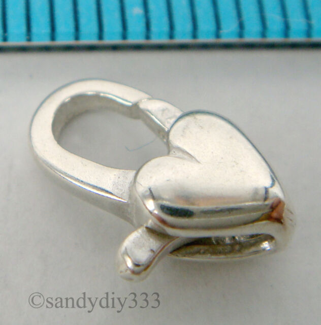 1x ITALIAN STERLING SILVER HEART LOBSTER CLASP BEAD 11mm #153