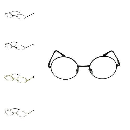Unisex Ovale Rotondo Vintage Geek Nerd Lente Trasparente Occhiali Montatura in metallo stile Retrò