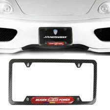 1x Mugen Carbon Fiber Stainless Steel License Plate Frame R Carbon Fiber Emblem Fits 2012 Honda Civic