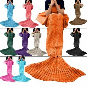 Adults-Handmade-Knitted-Sofa-Mermaid-Tail-Blanket-Kids-Quilt-Rug-Crochet-Cocoon