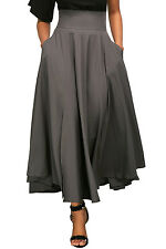 Gray Retro High Waist Pleated Belted Maxi Skirt Size 10-12