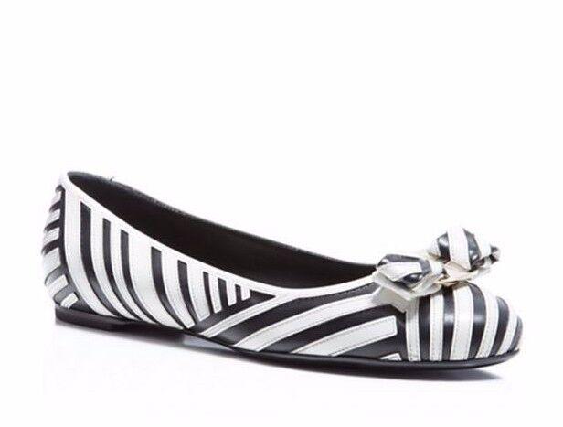 e893ebacbb50b Salvatore Ferragamo Varina Striped Bow Ballet Flats Size 8 B