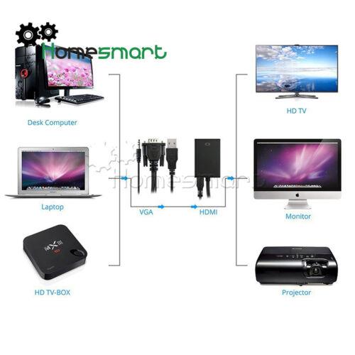 1080P HD+Audio AV HDTV VGA Male Turn HDMI Output Cable Converter Adapter AHS