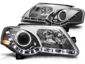 Scheinwerfer LED Tagfahrlicht Optik für VW PASSAT B6 3C 2005-2010 Chrom DE LPVWE