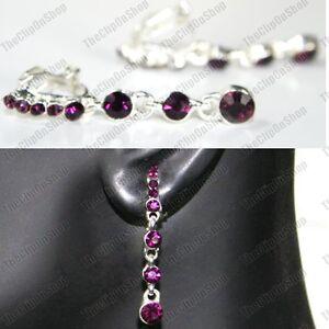 4cm-CLIP-ON-glass-PURPLE-CRYSTAL-DROP-EARRINGS-silver-rhinestone-DROPPER