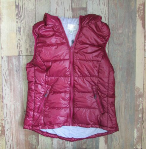 Tangerine Hooded Puffer Vests Silver Grey Ruby Red Size M NWT