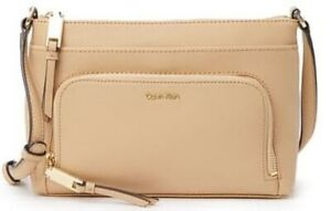 NWT-Calvin-Klein-Lily-Leather-Crossbody-Bag-in-Rye-Tan-with-Gold-Tone-Hardware