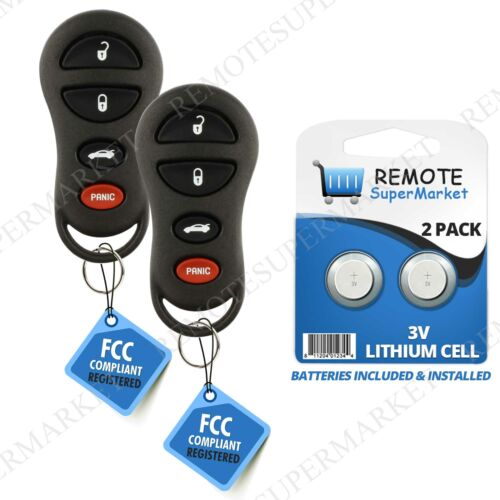 2 Replacement for Chrysler 99-00 LHS Dodge 98-00 Intrepid Car Key Remote Fob