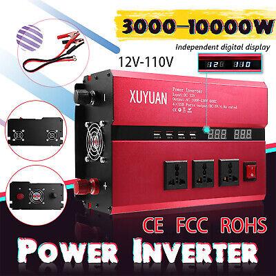 XUYUAN 3000W-10000W Car Power Inverter USB Sine Wave Converter DC 12V To AC 110V