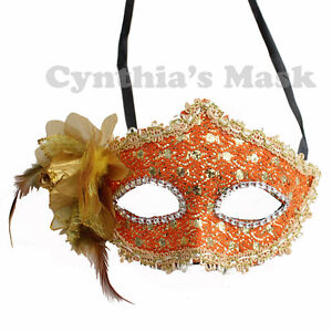 Orange-Floral-Venetian-Masquerade-Mask-w-Rhinestones-and-Glitter-Party-Prom