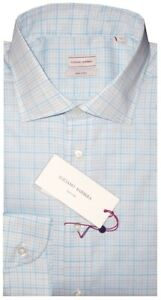 450-NEW-LUCIANO-BARBERA-LT-BLUE-CHECK-HAND-MADE-DRESS-SHIRT-ITALY-M-15-5-16