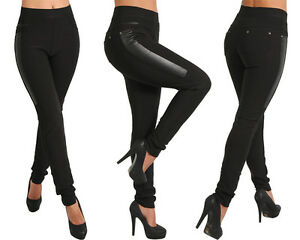Damen Stretch Hose Röhre Skinny Leggings Leggins Treggings Jeggings Thermo