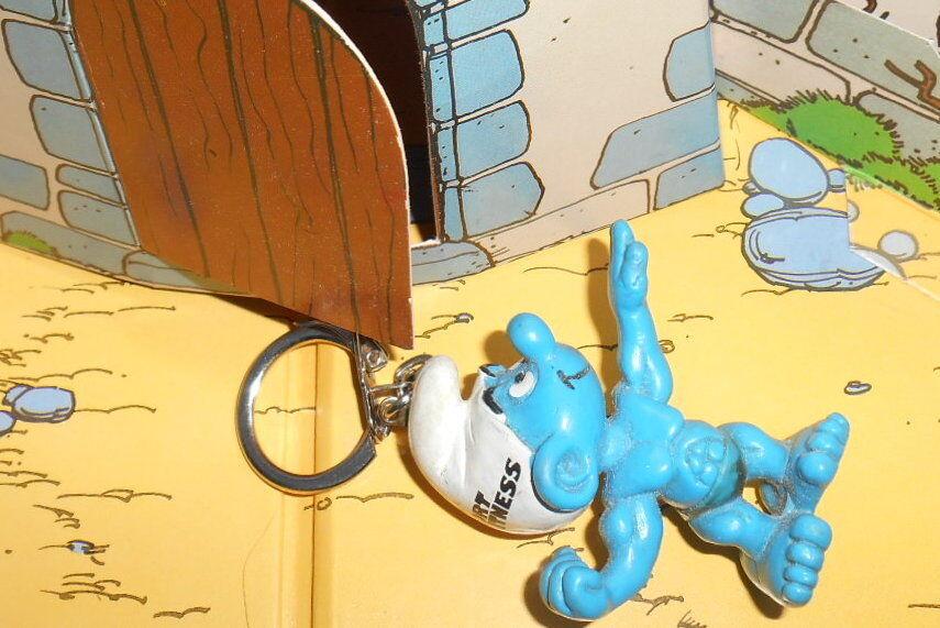 Porte cle Schtroumpf SPORT FITNESS Smurf pitufo puffo puffi publicitaire  rariss