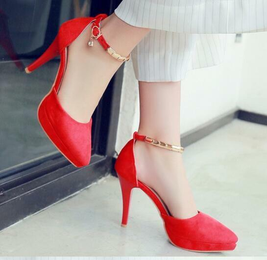 Escarpin Éscarpins Chaussures Talons Aiguilles Femme Rouge or 11 cm 8608