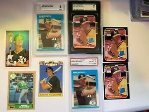 Mark McGwire 8 card lot ROOKIE CARDS RC PSA Beckett Topps Fleer Donruss Leaf NM-