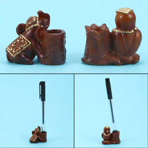 Pencil-Pen-Holder-Elephant-Owl-Resin-Crafts-Home-Office-Ornaments-Wood-Color
