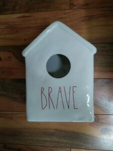 "Rae Dunn ""Brave"" Large Ceramic Birdhouse Magenta Farmhouse Decor Red Letters"